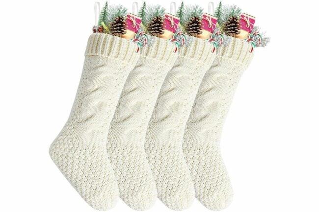 The Best Christmas Stockings Option: Kunyida Ivory Knit Christmas Stockings