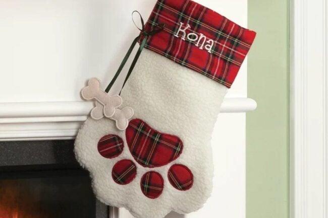 The Best Christmas Stockings Option: Plaid Dog Bone Personalized Paw Stocking