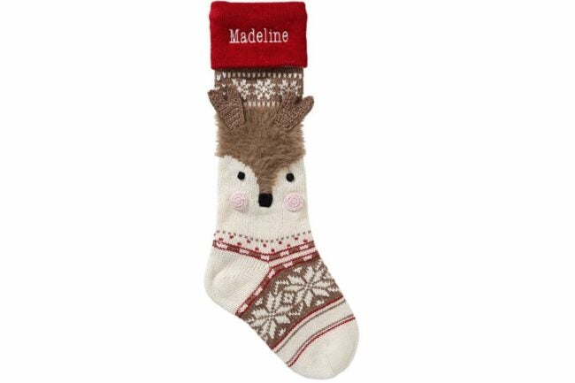 The Best Christmas Stockings Option: Reindeer Face Classic Fair Isle Christmas Stocking