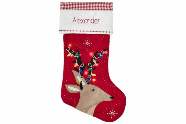 The Best Christmas Stockings Option: Reindeer With Lights Light Up Quilted Stocking