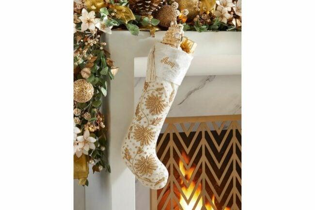 The Best Christmas Stockings Option: Velvet Stocking with Gold Nakshi Flowers