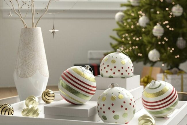 The Best Christmas Ornaments Option: Hashtag Home Dot and Line Design Ball Ornaments