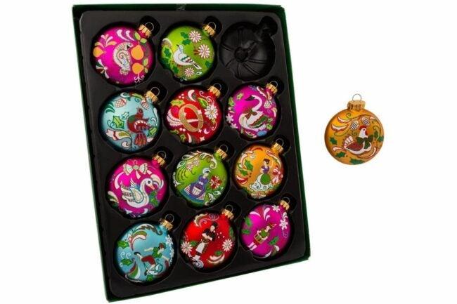 The Best Christmas Ornaments Option: Kurt Adler 65MM 12 Days of Christmas Glass Ornament Set