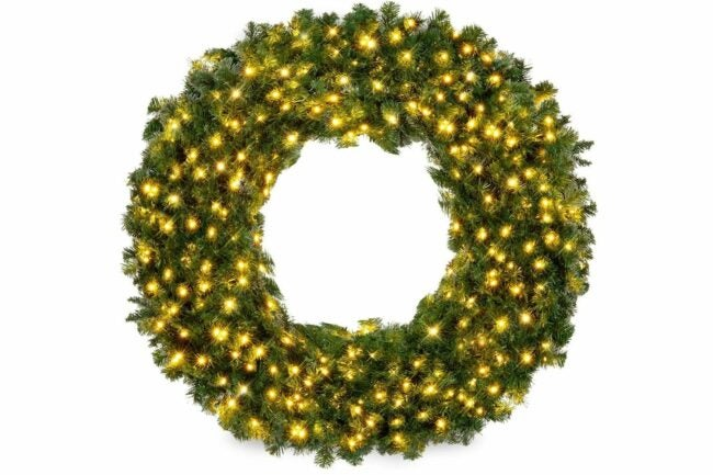 The Best Christmas Wreaths Option: Best Choice Products 48in Pre-Lit Christmas Wreath