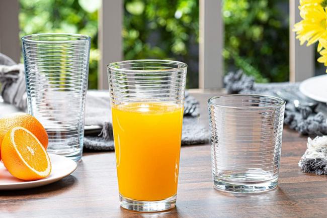 bv-deals-092721-20: Le'raze Set of 16 Ribbed Drinking Glasses