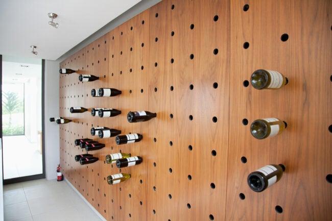 wine rack ideas - pegboard wall