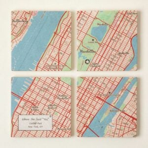The Best Personalized Gifts Option: Custom Map Coaster Set