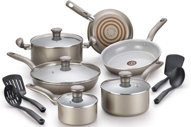 Deals Roundup 10/7 Option: T-fal Ceramic Nonstick 14-Piece Cookware Set, Gold