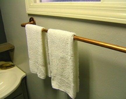 Diy copper towel rack finished
