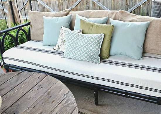 Leather couch for outside.