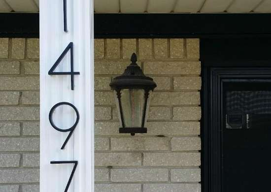House Numbers, White Lamp Post With House Number