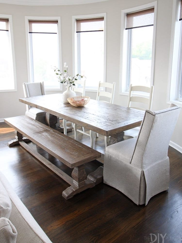 Wooden Dining Room Table With Bench, Cute Dining Room Table