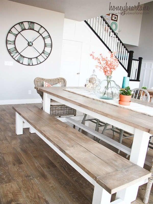 Обеденный стол и скамейка для дома своими руками