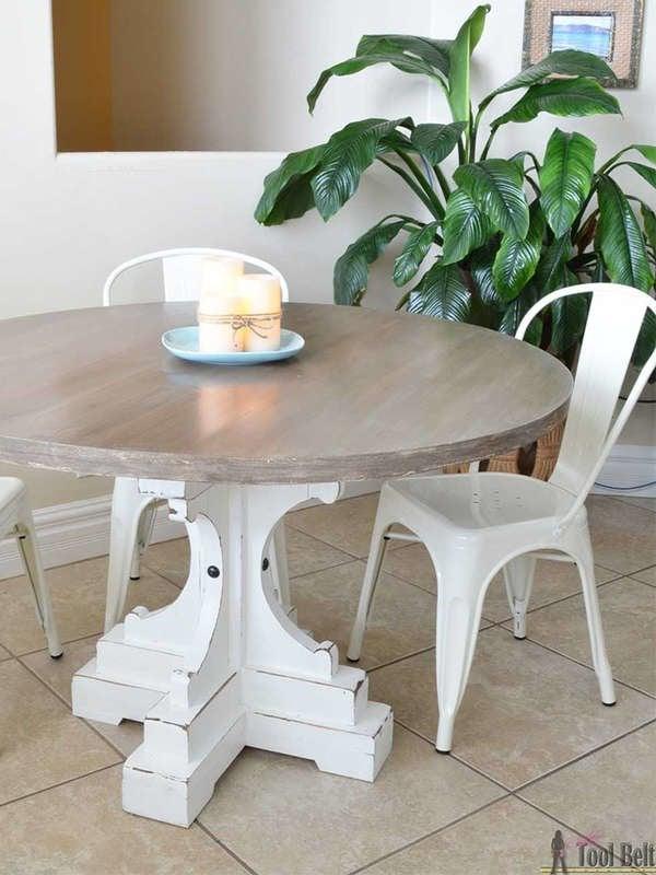 Обеденный стол DIY круглый пьедестал в стиле фермы