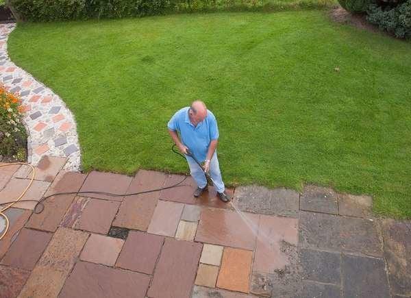 Pressure washer garden paths