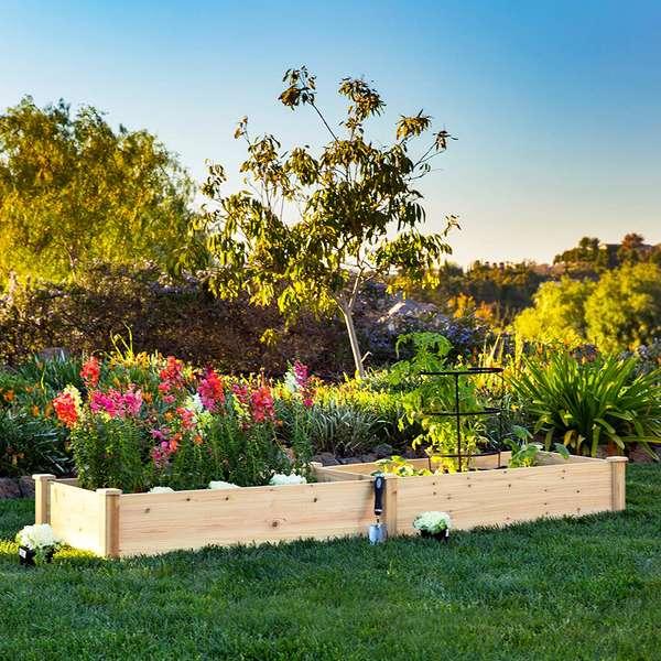 contenedor de madera cama elevada jardín